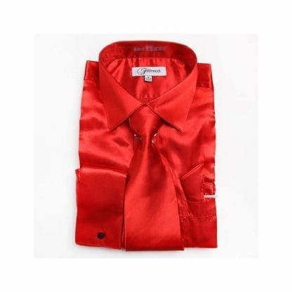 Red Shirt Shinny Microfiber with Tie and Pocket Square