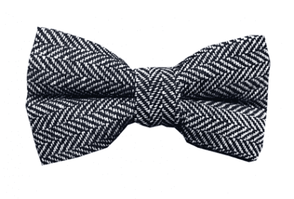 Mens Rustic Tweed Pre-tied Bowtie Black and White