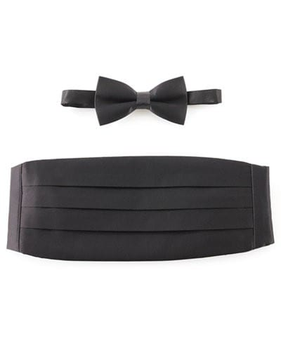 Satin Big Mens Wide Black Cummerbund with Bow Tie Option