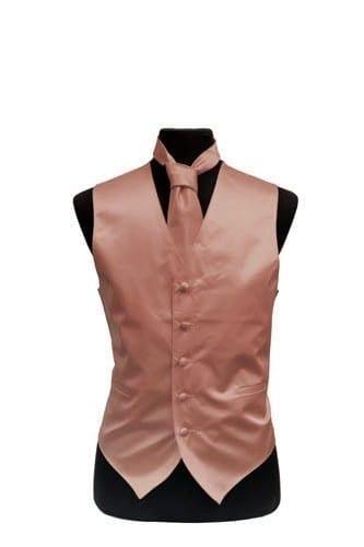 Mens Rose Gold Satin Vest and Necktie Set