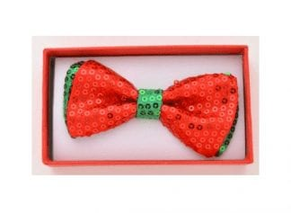 Sequin Bow Tie Red Green