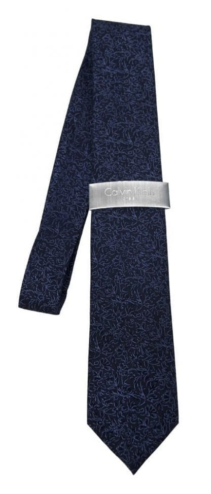 Silk Woven Floral Neck Tie By Calvin Klein All Colors