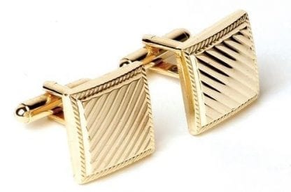 Square Cufflinks with Diagonal Lines Gold Finsh
