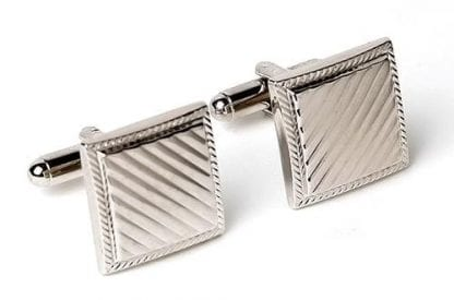 Square Cufflinks with Diagonal Lines Silver Finsh