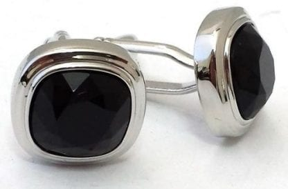 Three Tier Cufflinks with Silver Finish and Black Stone