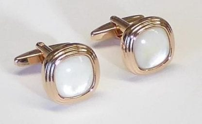 Three Tier Rose Gold With Mother of Pearl Stone Cufflinks