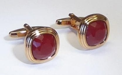 Three Tier Rose Gold With Ruby Stone Cufflinks