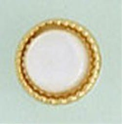 Tie Tack Geunine Mother of Pearl Beaded Edge Round Gold Tie Pin