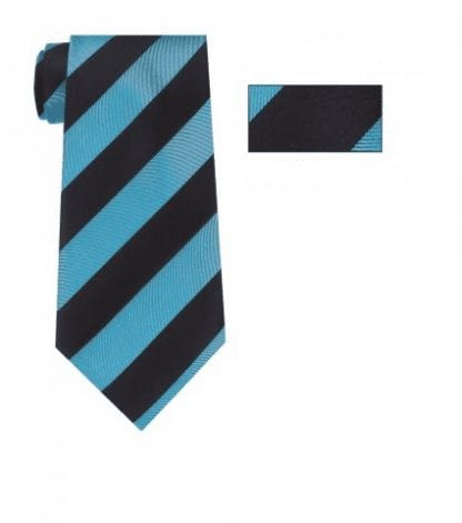 Turquoise and Black Striped Skinny Necktie with Matching Pocket Square