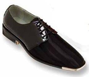 Tuxedo Shoes BLACK Satin Stripe Silver Tip Leather Shoes