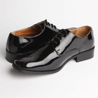 Tuxedo Shoes Black Slim Square Toe Lace-Up Top Stiching