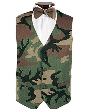 Tuxedo Vest Camouflage Satin Poly Vest