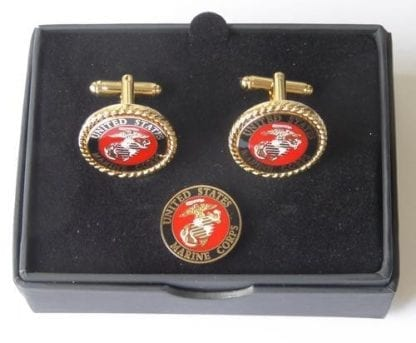 US Marines Corp Cuff Links and Lapel Pin Tie Tack