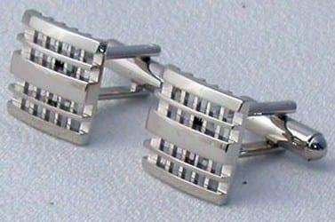 Waffle Design Cufflinks Silver