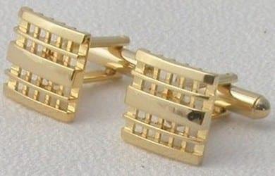 Waffle Design Cufflinks in Silver or Gold