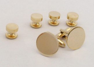 Engravable Studs And Cufflinks Gold Brass