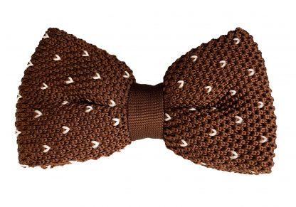 Knit Bow Tie Brown With Patten Pre-Tied