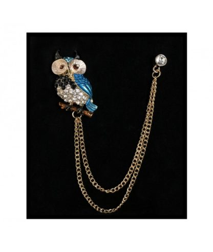Owl Chain Lapel Pin Gold And Silver